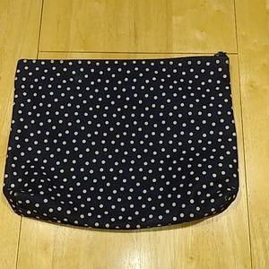 Thirty-One Large Zipper Pouch Navy White Polka Dot